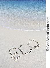 eco, plage sable, manuscrit