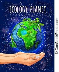 eco, planète, dessin animé, affiche