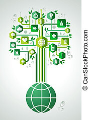 eco, planète, vert, amical, arbre
