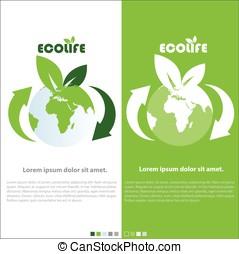 eco, planète, vie, vert, vecteur