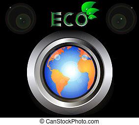 eco, planet, knapp, grön värld