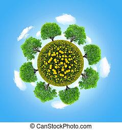 eco, planet, med, träd