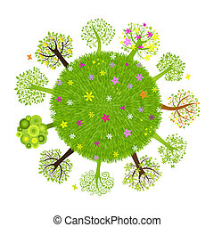 Eco Planet With Tree, Isolated On Black Background, Vector...
