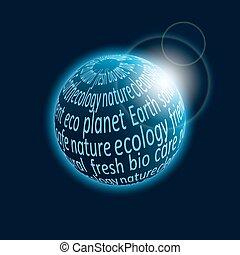 eco, planeta, ícone