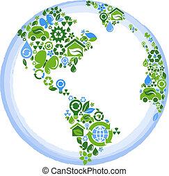 eco, planeta, concepto