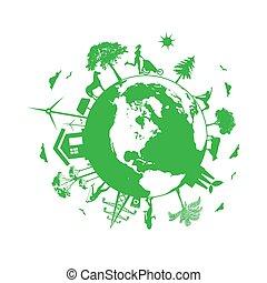 eco, planeta, ilustração, energia, vetorial, renovável