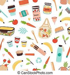 eco, plano, reutilizable, desperdicio, artículos, alimento, amistoso, bienes, principio, colorido, durable, vegetariano, ecología, productos, cero, pattern., vector, elementos, o, diferente, illustration., seamless, consumo