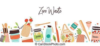eco, plano, reutilizable, no, desperdicio, artículos, bienes, colorido, diseño, amistoso, durable, plástico, plano de fondo, estilo, verde, cero, elementos, vector, o, aislado, ir, products., illustration.