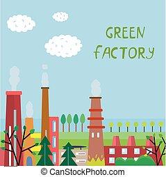 eco, planta, fundo, fábrica, árvores