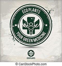 eco, plantas, alternativa, estampilla
