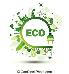 Eco plug - Green city sustainable nature concept with...
