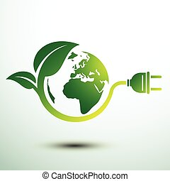 Eco plug - Green eco power plug design with Green earth,...