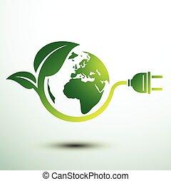 Eco plug - Green eco power plug design with Green earth, ...