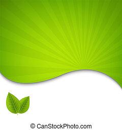 eco, poster, bladeren, groene