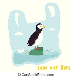 Eco poster. Cute puffin inside the plastic bag