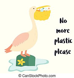 Eco poster. Pelican and waste inside the beak