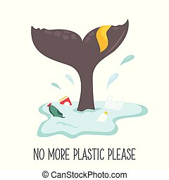 Eco poster. Whale tale and garbage in the ocean