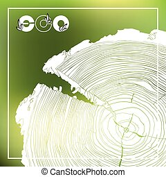 ECO poster with logo and Annual tree growth rings, grayscale...