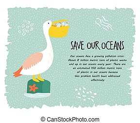 Eco poster with pelican. Stop plastic pollution.