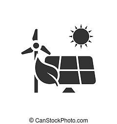 Eco power icon flat