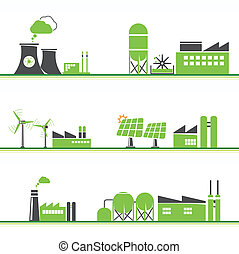 ECO power icons - ECO power plants and facilities