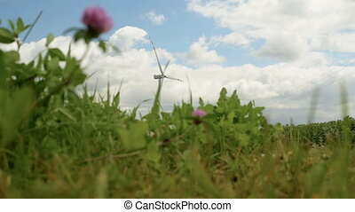 Eco power, wind turbines - Windmills Energy. Landscape with...