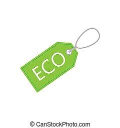 Eco, price tag icon. Vector illustration, flat design.