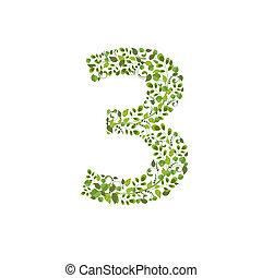 eco, printemps, leaves., numéro 3, vert