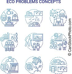 Eco problems concept icons set. Ecological disaster idea thin line illustrations in blue. Pollution of water, soil & air. Overpopulation and biodiversity. Vector isolated outline drawings