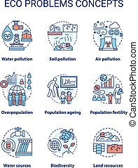 Eco problems concept icons set. Ecological disaster idea thin line illustrations. Pollution of water, soil & air. Overpopulation and biodiversity. Vector isolated outline drawings. Editable stroke