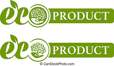 Eco product logo. leaves in the hand on green background