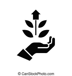 Eco production black icon, concept illustration, vector flat symbol, glyph sign.