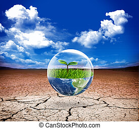 eco protect - Earth in bubble water. Eco green