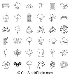 Eco protection icons set, outline style