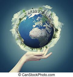 eco, résumé, arrière-plans, conception, notre, mondiale, mains, ton