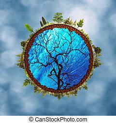 eco, résumé, arrière-plans, contre, brouillé, cieux