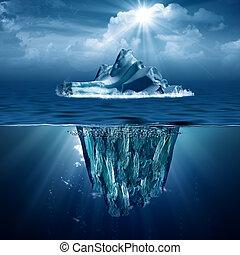eco, résumé, arrière-plans, iceberg., conception, ton