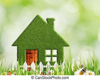 eco, résumé, arrière-plans, maison, ambiant, vert