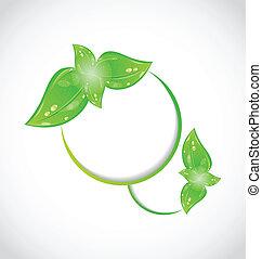 eco, résumé, feuilles vertes, cadre