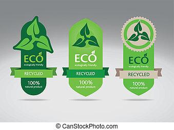 eco, reciclar, conjunto, etiqueta