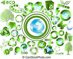eco, reciclar, fin, símbolos