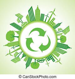 eco, recicle, cityscape, ao redor, ícone
