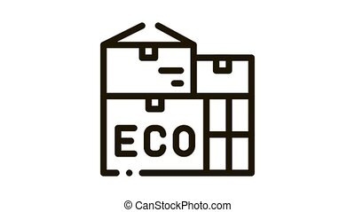 Eco Recycle Material Container Packaging animated black icon on white background
