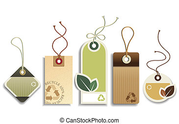 Vector set of five cardboard eco recycle tags.