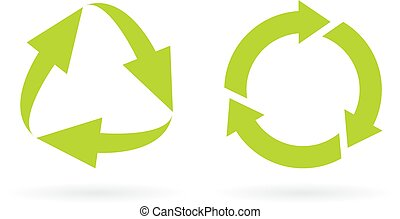 Eco recycled cycle icons set