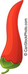 Eco red chili icon, cartoon style