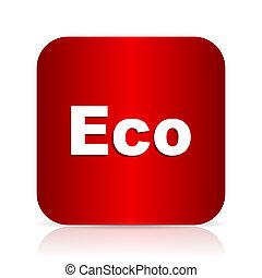 eco red square modern design icon