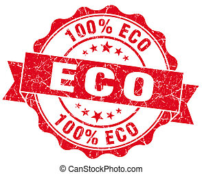 eco red vintage seal isolated on white