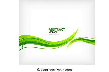 eco, redemoinho, modernos, verde, abstração