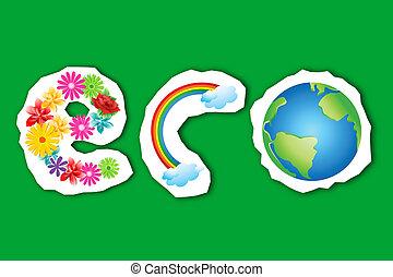 eco, regnbåge, klot, blomma, text